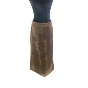 Vintage Brown Leather Suede Maxi Skirt Size 4